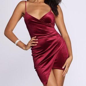 Asymmetrical Burgandy Velvet Dress